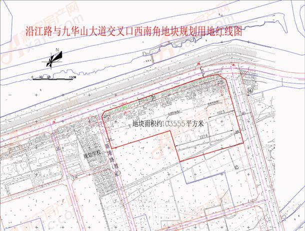 沿江路与九华山大道交叉口西南角地块规划用地红线图.jpg