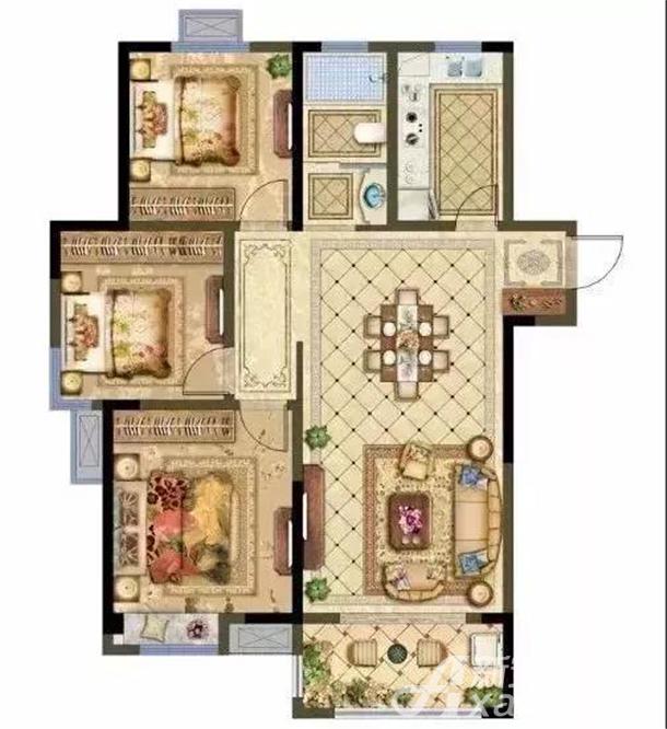高层A户型 3房2厅1卫