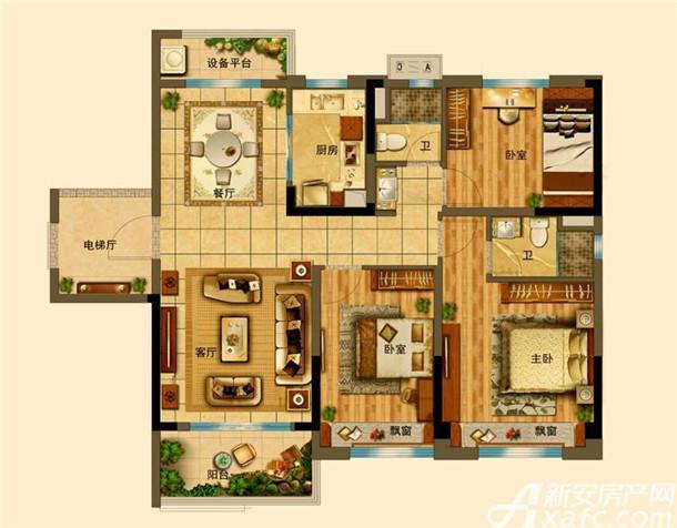 3室2厅2卫118㎡户型