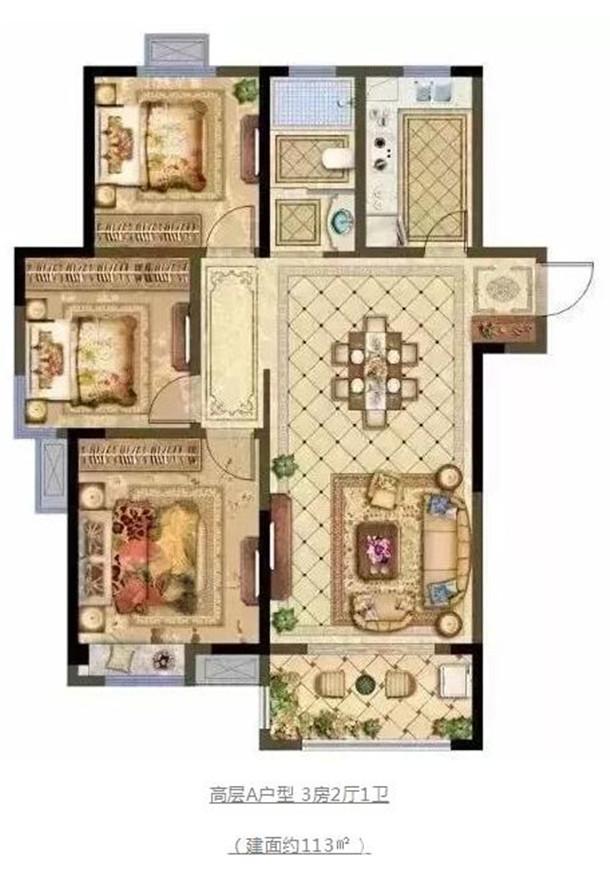 高层A户型 3房2厅1卫 (建面约113㎡)