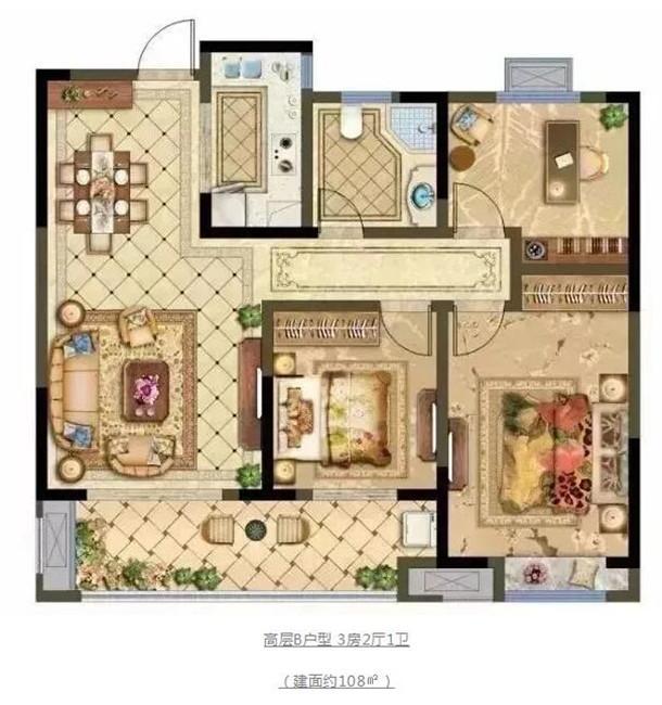高层B户型 3房2厅1卫 (建面约108㎡)