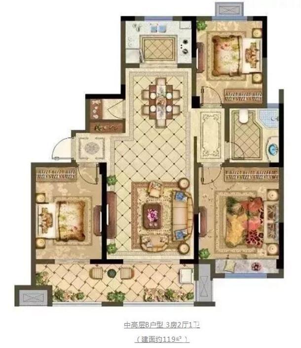 中高层B户型 3房2厅1卫 (建面约119㎡)
