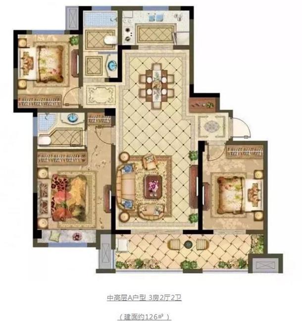 中高层A户型 3房2厅2卫(建面约126㎡)