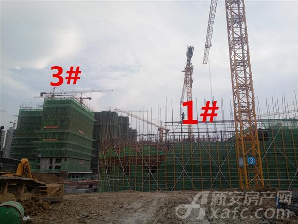 龙湖瑶海天街9月份项目进度:1#建至约2层左右 3#建至约15层
