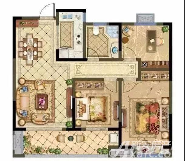 高层B户型 3房2厅1卫