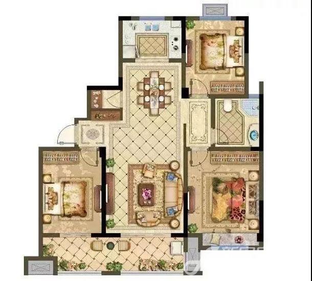 中高层B户型 3房2厅1卫
