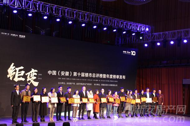 中国(安徽)第十届楼市总评榜房地产企业销售额排行榜TOP20房企代表上台领奖