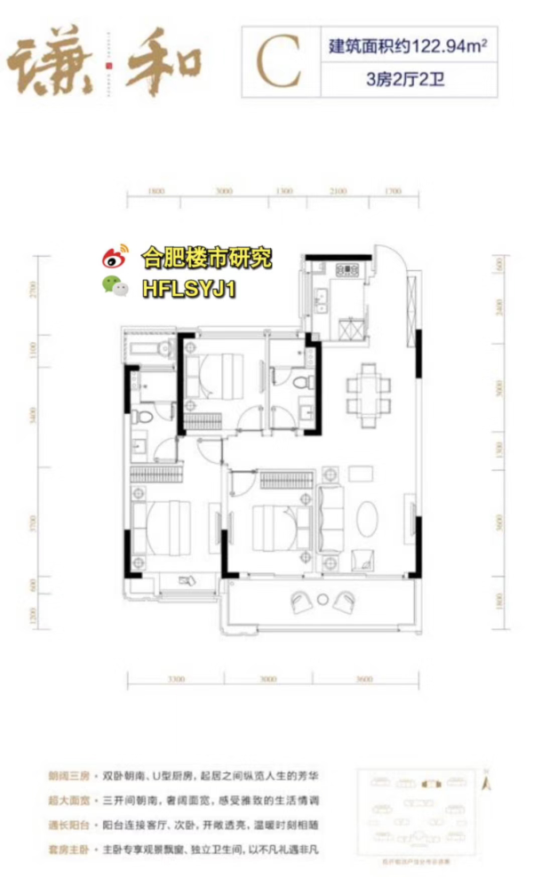 """122.94㎡3房2厅2卫(图来自""""合肥楼市研究"""")"""