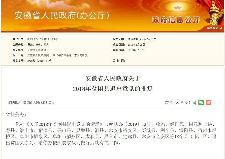 安徽省人民政府关于2018年贫困县退出意见的批复