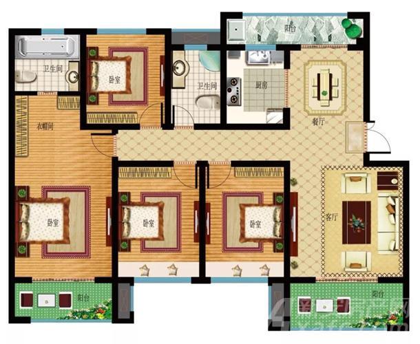 建面约160㎡四室两厅两卫