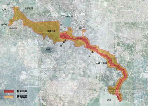 南淝河景观研究、规划范围示意图