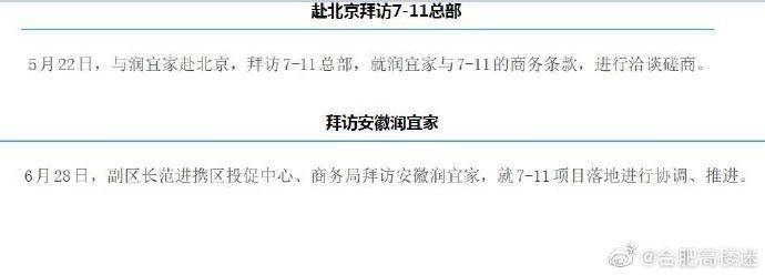 """网曝庐阳区携手本土""""宜家""""引入7-11"""
