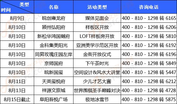 阜阳楼市活动统计表