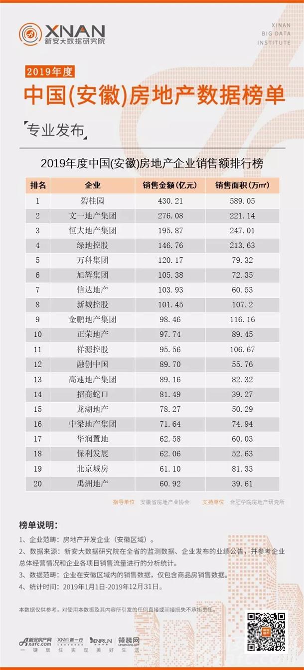 2019年度中国(安徽)房地产企业销售额排行榜